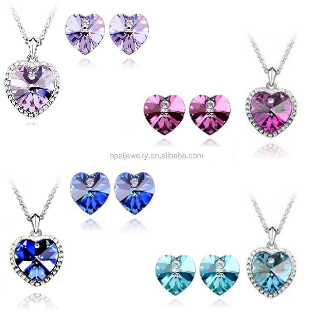 Romantic Love Heart Valentine's Day Crystal Silver Fashion Jewellery