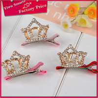 Good quality handmade alloy metal gold jewelry trends 2016 korean cute girls fashion mini crown design metal hair claw clip