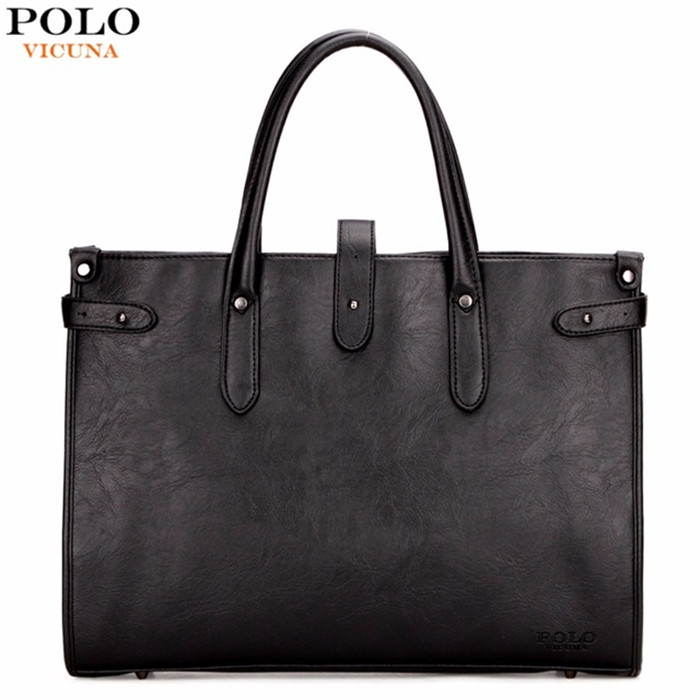 VICUNA POLO Casual Black Large Men's Tote Bag Fashion Leather Men's Hand Bag Simple Design Men's Laptop Briefcase Hot Selling