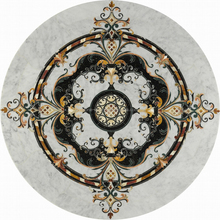 Newstar Luxury Chinese 24X24 Nature Stone White Marble Flooring Border Design Price Per Square Meter Tile Design Medallion Pictu