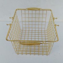 Chrome wire shopping basket with handle wire hanging baskets wholesale