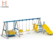 Outdoor playground kids plastic swings and slides swings sets