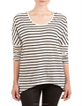 Custom made vintage Stripe long sleeve t-shirt o neck cotton casual t shirt for lady