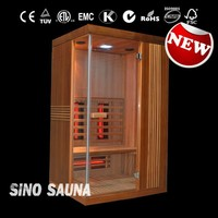 1people health care solid wood home slim sauna with full spectrum red glass (CE/RoHS)