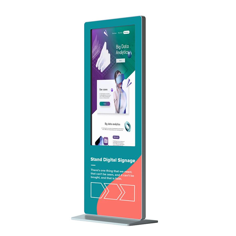 Floor standing multimedia lcd advertising display full hd indoor smart kiosk