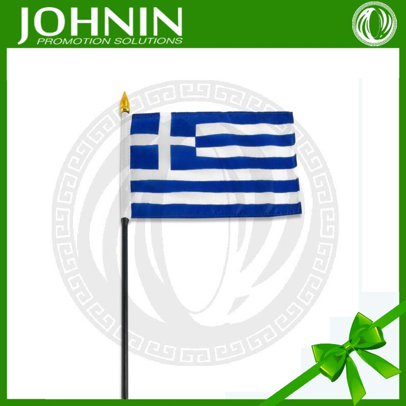 Polyester fabric promotion miniature printed single-sided miniature greek hand held flag