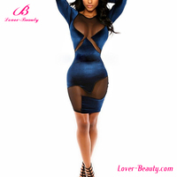Long sleeve mesh transparent sexy night dress for woman