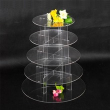 5 Tier Clear Acrylic Circle Lucite Stacked Party Wedding Mini Cake Cupcake Display Stands