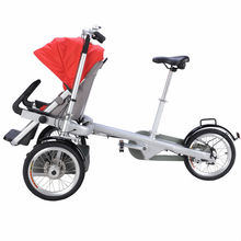 E-Bike For Mother And Two Seats Baby Bike Stroller