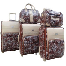 pu leather 5 pcs four wheels travel protective cover leopard luggage