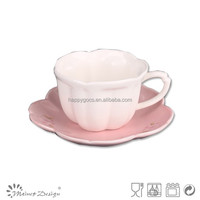 Hot sell flower shape wholesale stoneware small coffee cup and saucer set