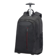 Black rolling trolley school backpack laptop bag with wheels