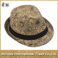 Top quality mexico straw sombrero printed farmer custom fedora hat hot sell