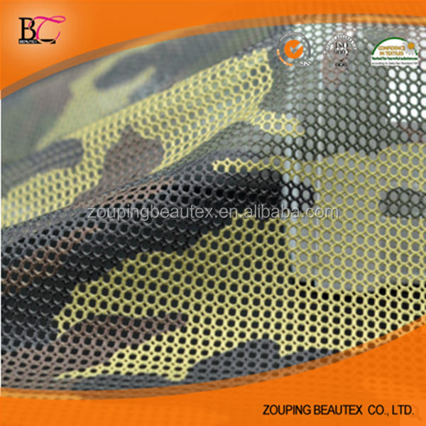Factory direct sale camouflage printed monolayer mesh fabric