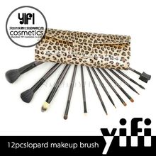 Brush manufacturing company 12pcs leopard bag bamboo make up brush set