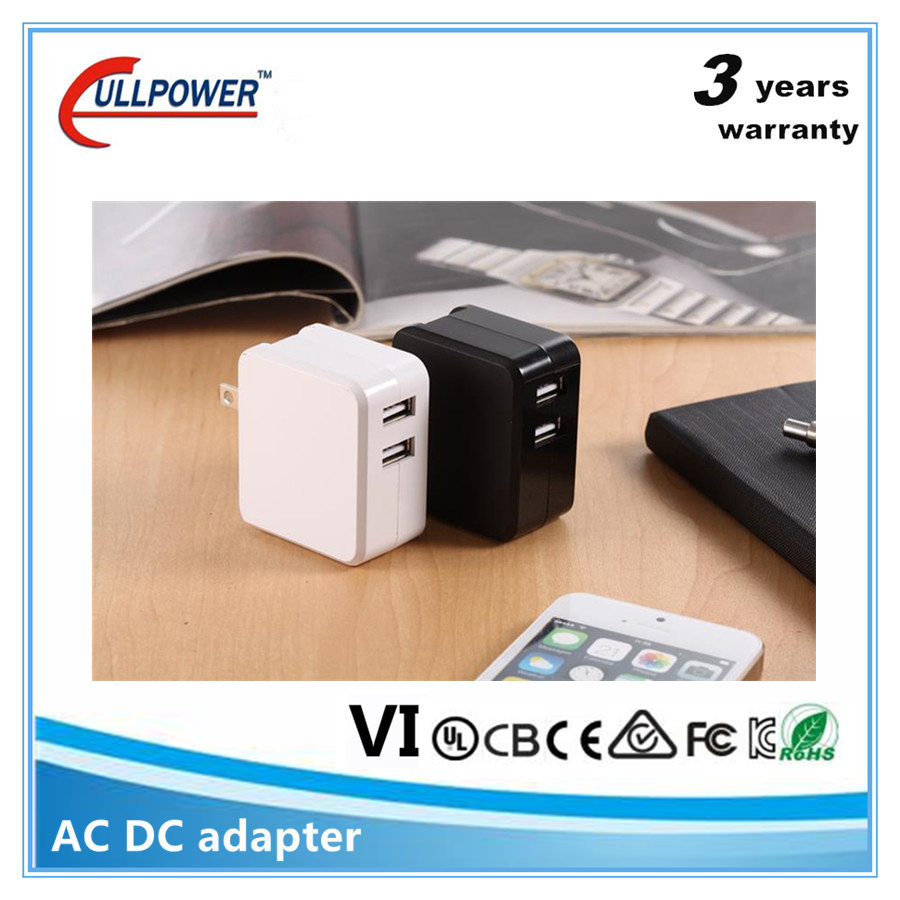 UL FCC CE home travel 5v1a 5v2.4 a 5v 3.4a dual usb wall charger