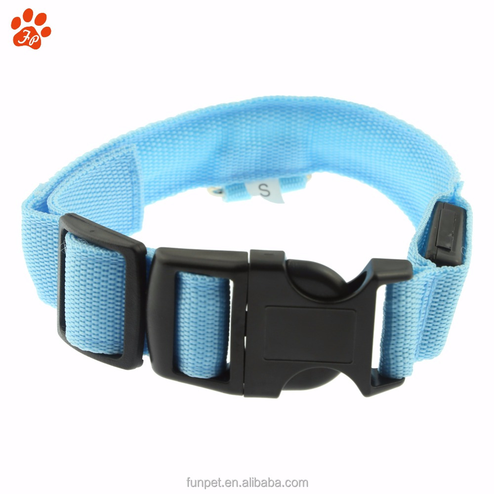 High quality light blue USB Rechargeable LED Pet Collars flashing cat dog collars led glowing in dark for safety pet collar