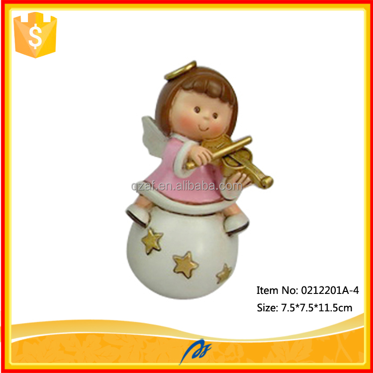 Wholesale resin angels play the violin little angels models for sale