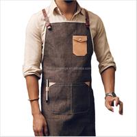 custom high quality denim coffee shop workwear for men