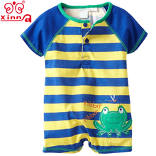 Summer Infant Blue And Yellow Striped Frog Romper baby wear