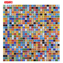 10x10mm Rainbow Colorful Glass Mosaic Tiles Customized Wall Tile