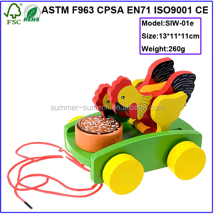 2016 new colorful design wooden chicken eat rice pulling toy car for kids Hand Toddler Toys