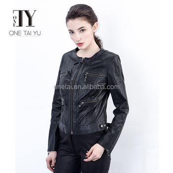 women black breathable eco-friendly zipper causal style motorcycle pu leather jackets