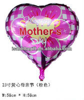good quality 23'' happy mother's day heart shape printed helium foil balloon with laciness,aluminium foil balloon
