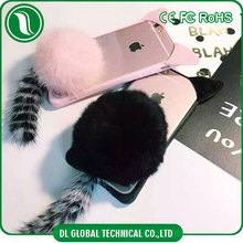 Luxury rex rabbit fur ball with tail and warm cat ear tpu+plush case for iphone 6