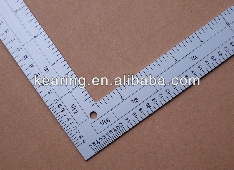 KEARING BRAND, VOGUE L SHAPE CALIBRATED RULER, TRIANGULAR METAL CALIBRATED RULER, 12''&24'' LENGTH FOR SEWING #5124A