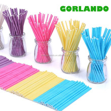 Colored paper lollipop sticks