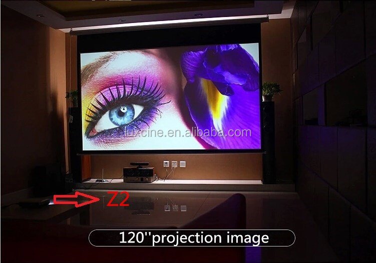 Super bright Z2 1080p Mini portable led 3D dlp projector with 2 HDMI&USB&5.1 Dolby Surround Speaker
