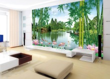 3d landscape wallpaper bamboo forests lotus pond murals wall art paper