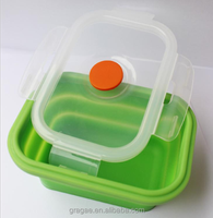100% Food grade battery heated lunch box silicone collapsible lunch box