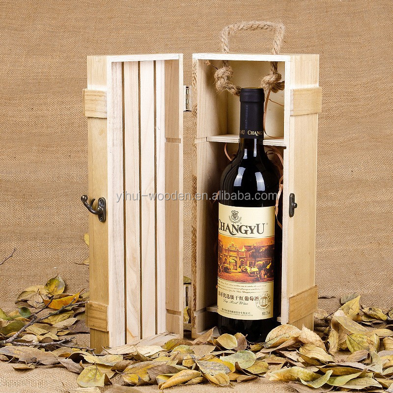 unfinished single bottle wooden wine boxes with sliding lid