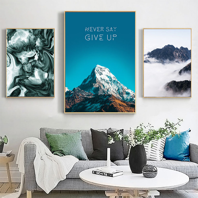 Motivational Quotes Never Give UP Paintings on Canvas Nordic Prints and Posters Mountain Decoration Pictures for Living Room