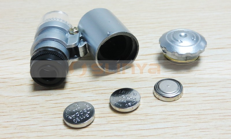 Handheld 60X LED Pocket Microscope Magnifier Jewelry Loupe