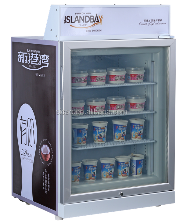 Single temperature 70lt glass door display ice cream refrigerator show case for sale in china