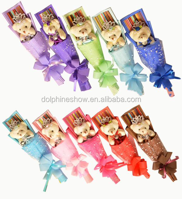 Single mothers day gift set cheap fashion different types and colors valentine's day girl soft teddy bear toy plush bouquet