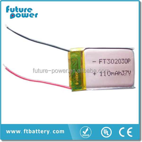 3.7v li-ion polymer battery 110mah small battery for bluetooth headset