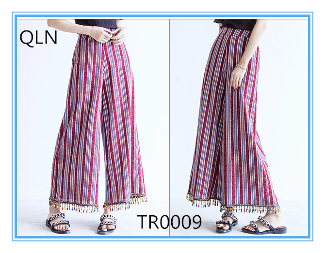 woman cotton material bell bottom trousers cutting , printed pants and trousers for lady from alibaba apparel