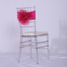 Popular sale organza 3D flower shaped wedding chair sashes band