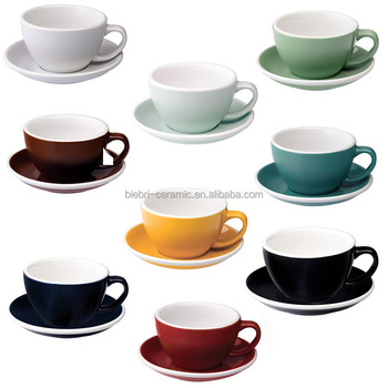 300ml Top Quality Color Glazed Ceramic Stoneware Coffee Tea Cups with Saucers Sets