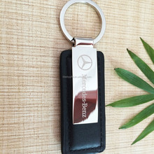 rectangle PU leather keychain logo