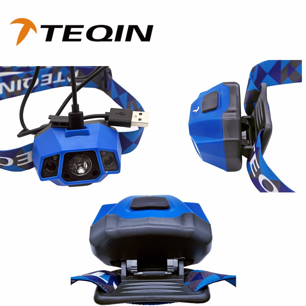 2016 TEQIN IPX6 Waterproof adjustable Headlamp Rechargeable Head Light high power led headlight miner lamp flashlight