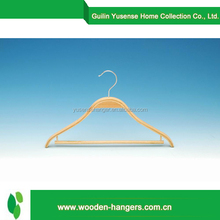 Factory price plywood hanger with bar women and men wooden suit hanger clothes hanger