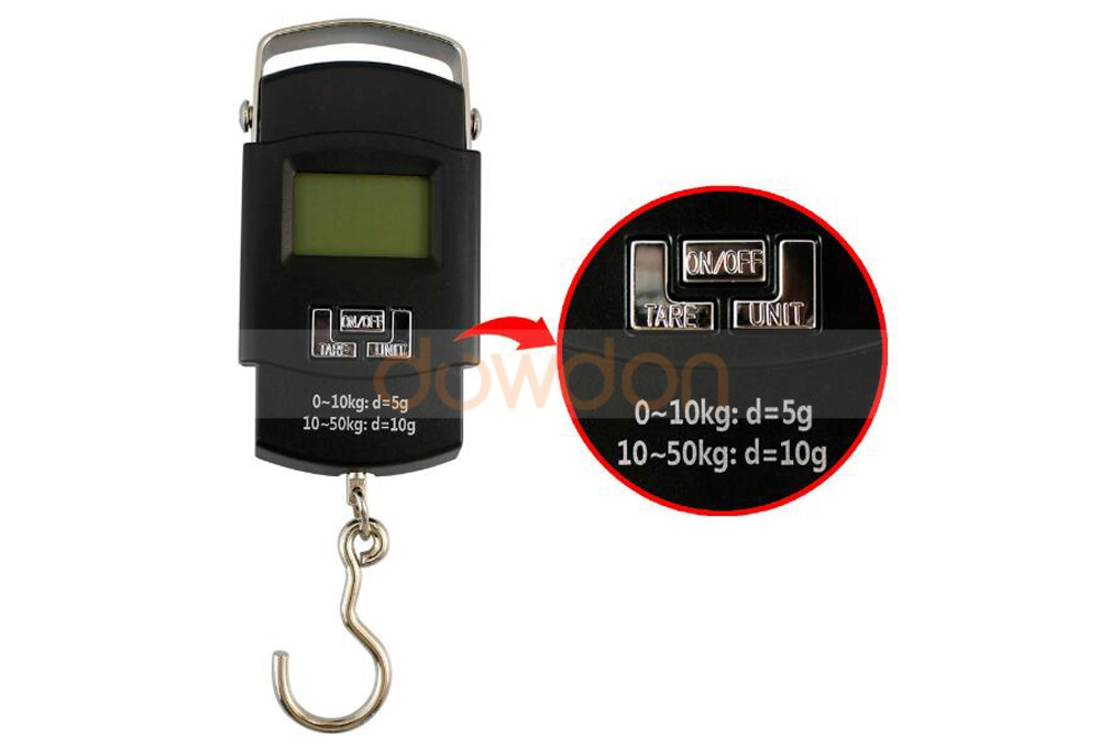 50kg*10g Mini Digital Scale Hanging Luggage Fishing Weighing Scale LCD Display Scales