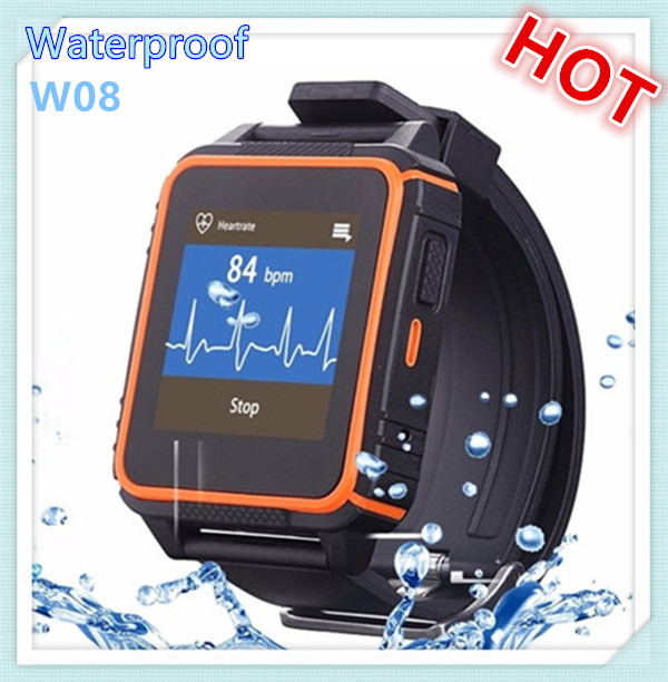 Hot selling android smartwatch hand pedometer w08 waterproof watch phone