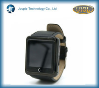 Joupie-U10 leather Bluetooth smartwatch sync for iOS and Android smartphone, black intelligent watch