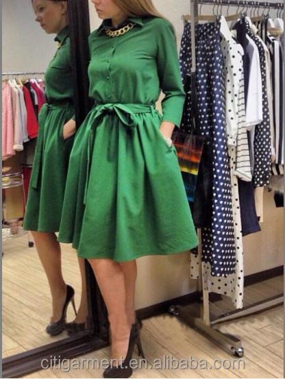 European Style Hot Sale Latest Dress Designs Fashion Long Sleeve A-Line Bubble Girl Dress/Women Wear
